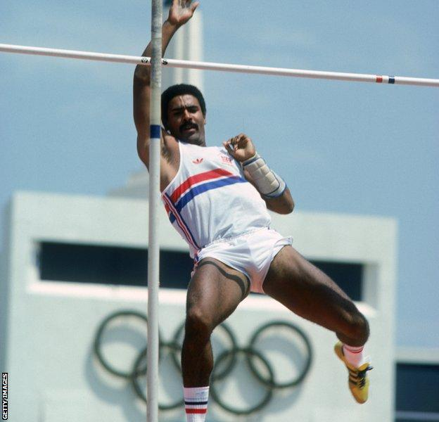 Daley Thompson competing at the 1984 Olympic Games
