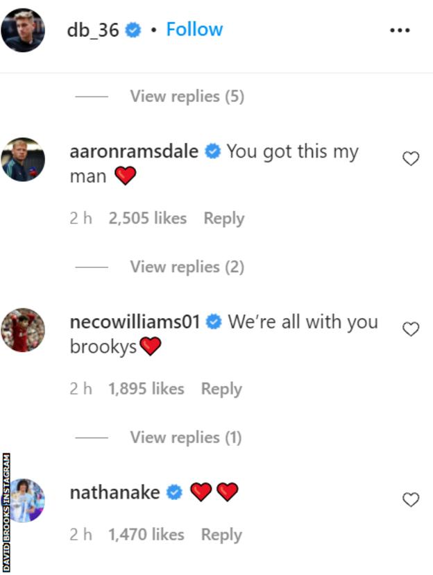 comments of support on Instagram from Aaron Ramsdale, Neco Williams and Nathan Ake