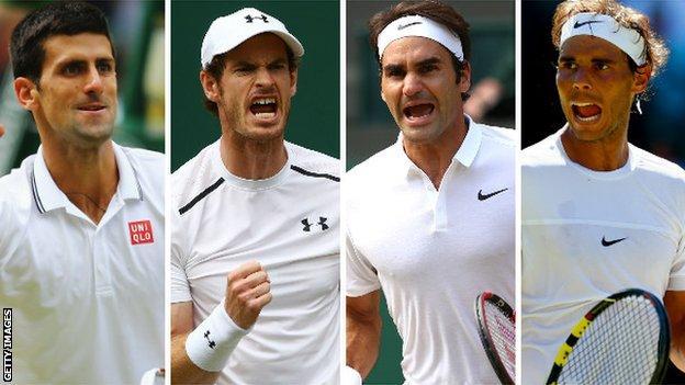 International men's tennis players Novak Djokovic, Andy Murray, Roger Federer and Rafael Nadal