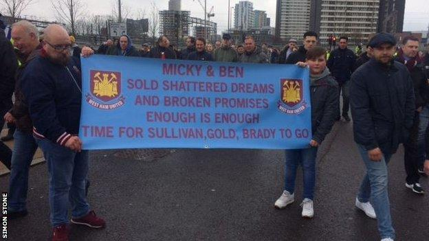 Protesting West Ham fans before Saturday's match
