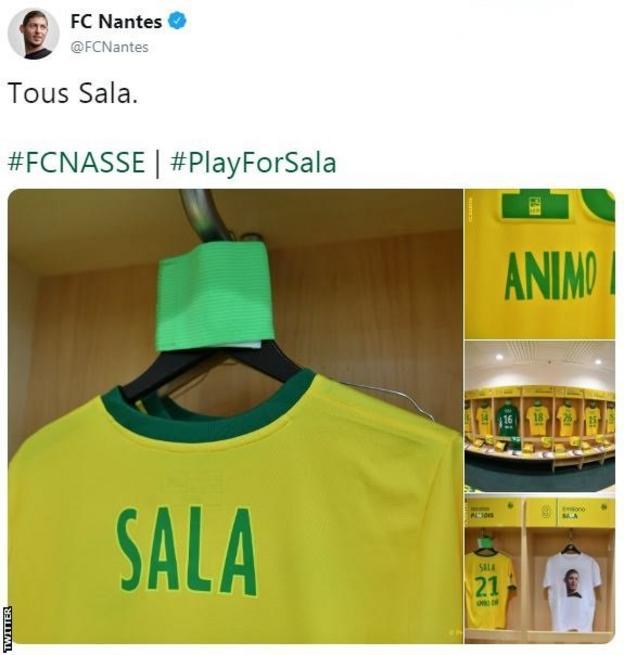 Nantes tweet displaying Sala shirts in the dressing room