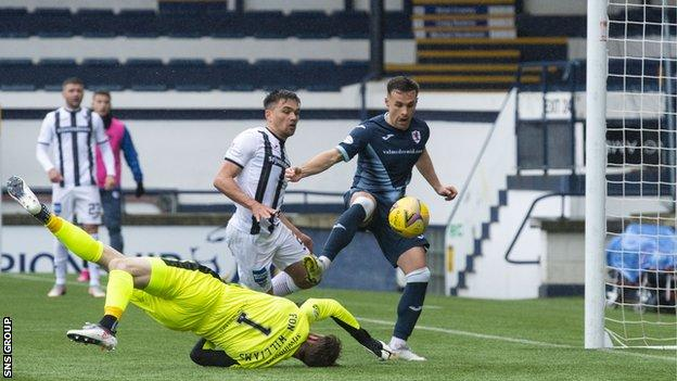 Lewis Vaughn knocks in the opening goal at Stark's Park