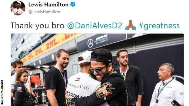 Lewis Hamilton and Dani Alves