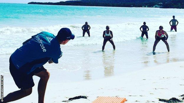 England's women train on the beach
