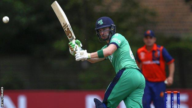 Andrew Balbirnie plays a pull shot in Ireland's World Cup qualifier against the Netherlands in Harare three years ago