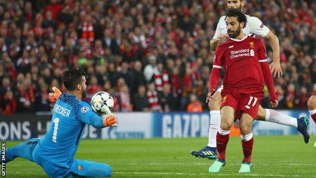 Liverpool's Mo Salah scores in the Champions League semi final against Roma