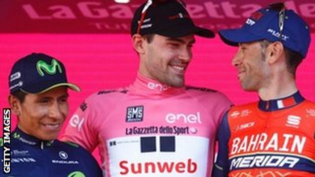 Nairo Quintana, Tom Dumoulin and Vincenzo Nibali