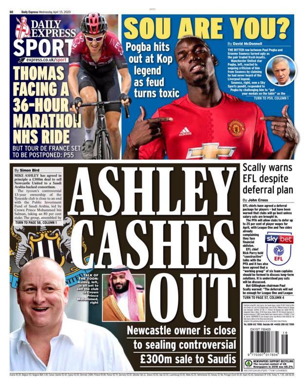 Wednesday's Express back page