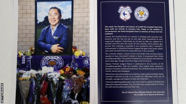 Leicester programme with dedication to Vichai