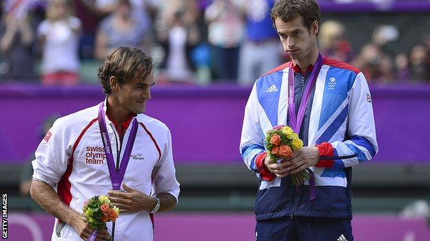 federer and murray with their 2012 olympic medals