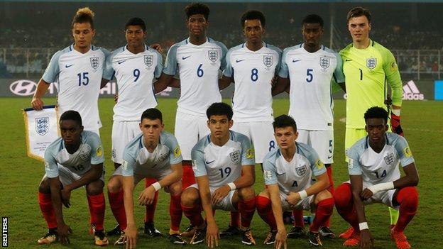Joel Latibeaudiere (15, back left) was part of current Swans boss Steve Cooper's England U17 World Cup-winning team