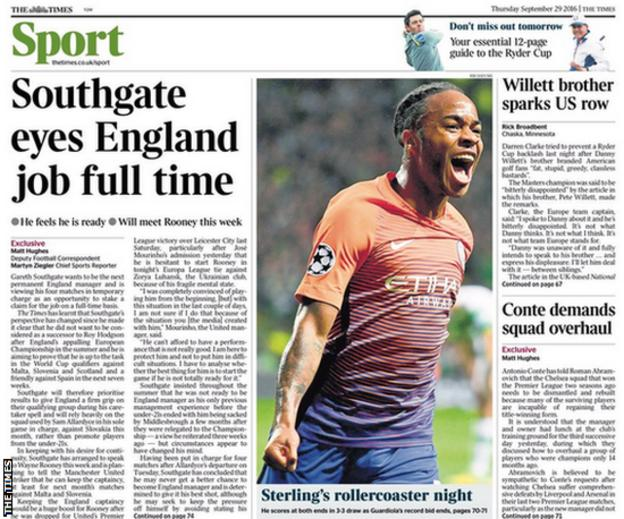 The back page of Thursday's Times