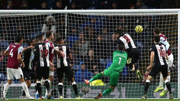 Chris Wood scores a header for Burnley against Newcastle