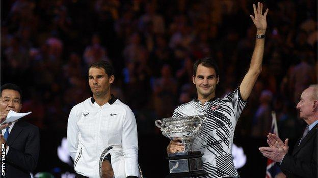 Rafael Nadal and Roger Federer after the 2017 final