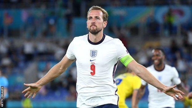 Harry Kane celebrates for England after scoring in a 4-0 quarter-final win against Ukraine at the Euros