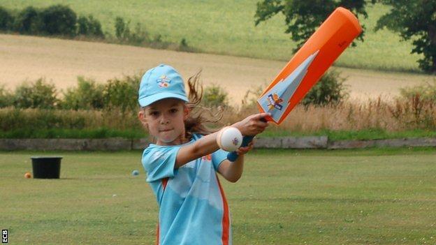 Kira bats at All Stars Cricket