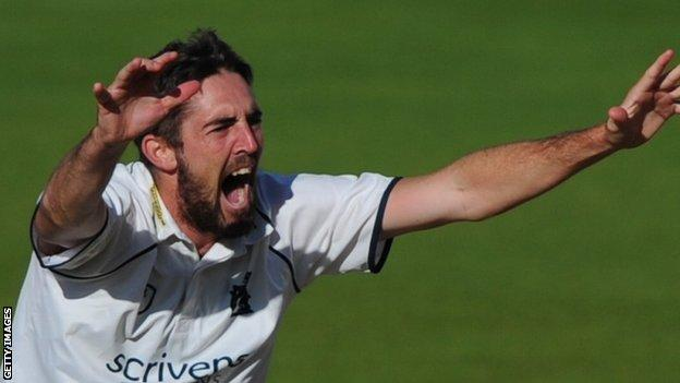Warwickshire bowler Ryan Sidebottom has taken 45 career first-class wickets