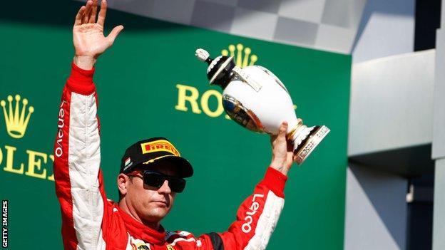 Kimi Raikkonen on the podium