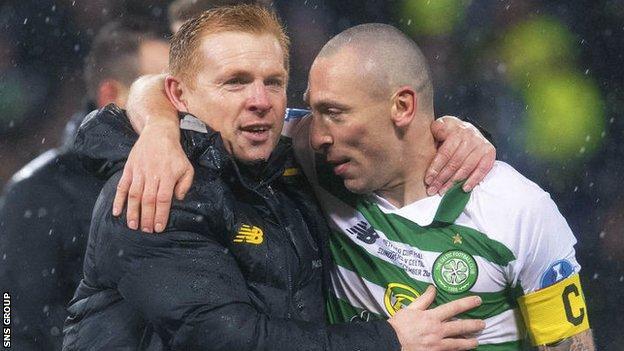 Neil Lennon with Celtic captain Scott Brown