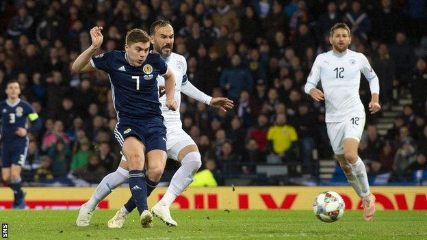 James Forrest scores for Scotland against Israel
