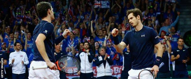 Jamie and Andy Murray celebrate their Davis Cup win over Belgium