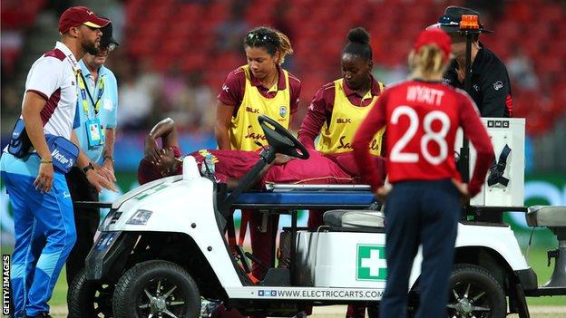 Stafanie Taylor is stretchered off
