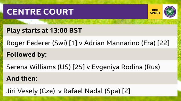 Centre Court - Order of Play - Roger Federer v Adrian Mannarino, Serena Williams v Evgeniya Rodina & Jiri Vesely v Rafael Nadal