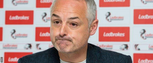 Raith manager Ray McKinnon speaks to the media before their Premiership play-off first leg against Hibs