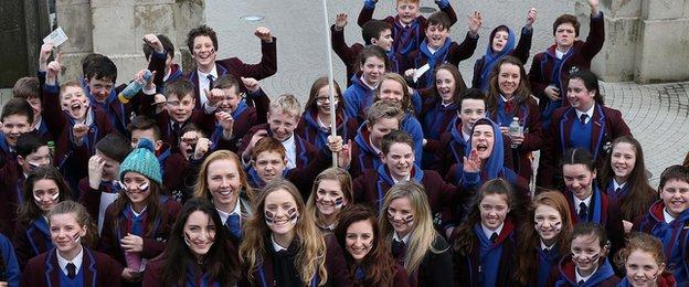 Pupils from Ballymoney school Dalriada were out in force for the semi-final
