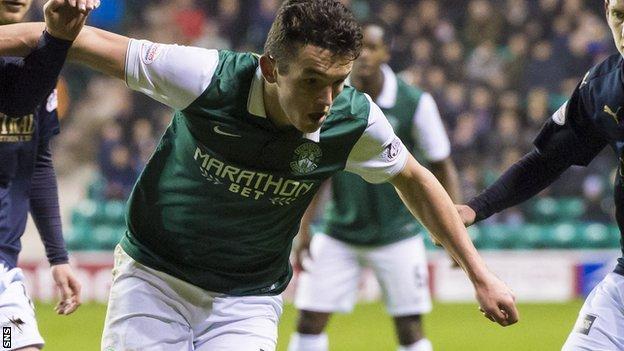 Hibs midfielder John McGinn takes on the Falkirk defence