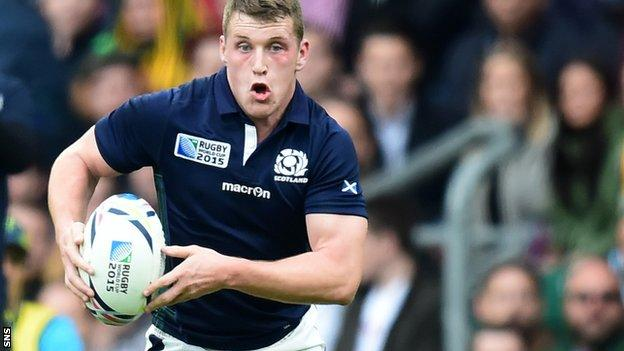 Mark Bennett takes on the Australia defence during Scotland's World cup quarter-final defeat