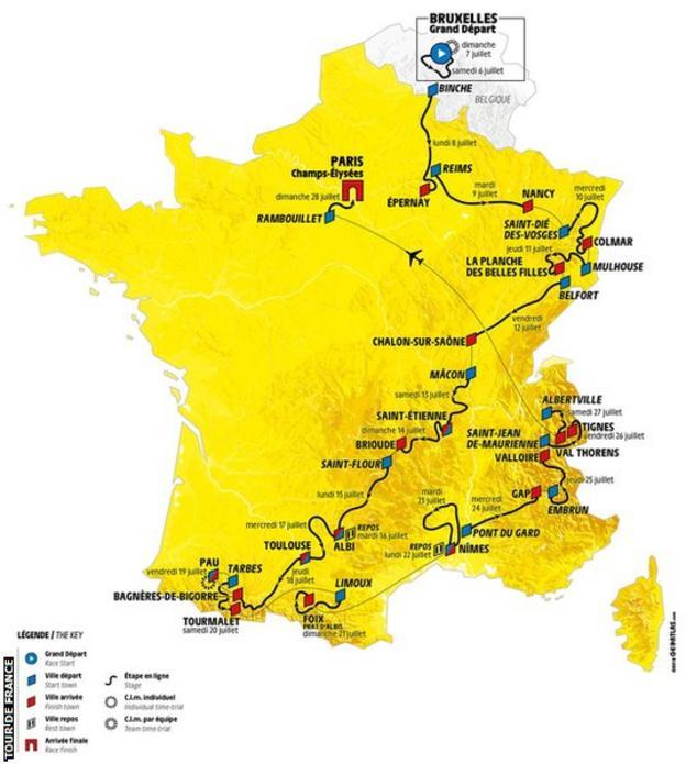 A map of the 2019 Tour de France route