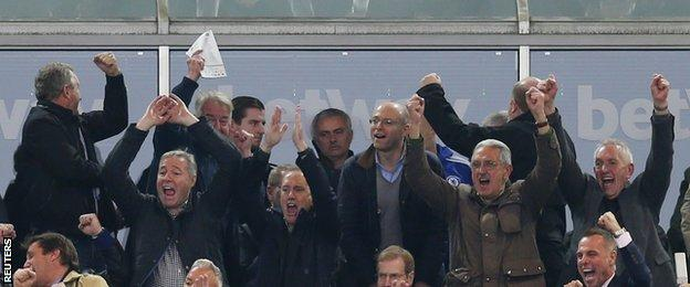 Jose Mourinho watches from the directors' box