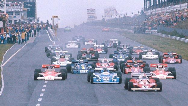 A view of the start of the 1976 German Grand Prix