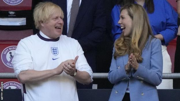 Prime Minister Boris Johnson and his wife Carrie were at Wembley to see England reach the final of Euro 2020