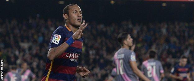 Neymar celebrates his hat-trick against Rayo Vallecano