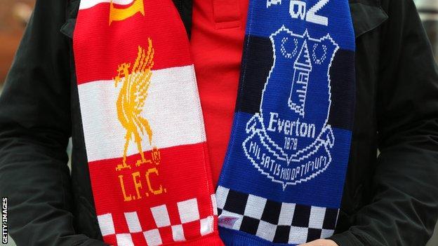 Liverpool and Everton half-and-half scarf