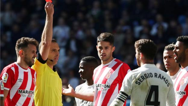 Real Madrid 1-2 Girona: Sergio Ramos sent off in shock La Liga defeat thumbnail