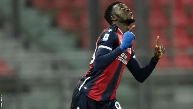 The Gambia's Musa Barrow celebrating a goal for Bologna