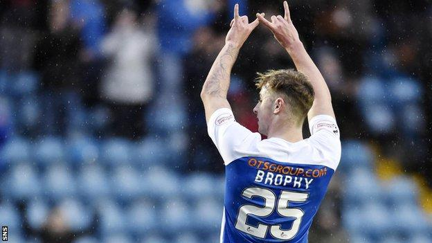 Kilmarnock substitute Eamonn Brophy celebrates scoring against Brora Rangers
