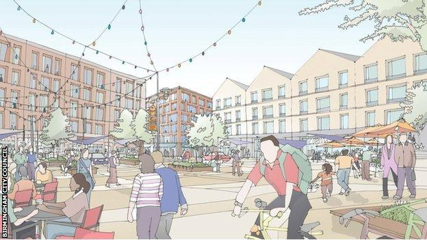 Artist's impression (CGI) view of the athletes village for the Birmingham 2022 Commonwealth Games