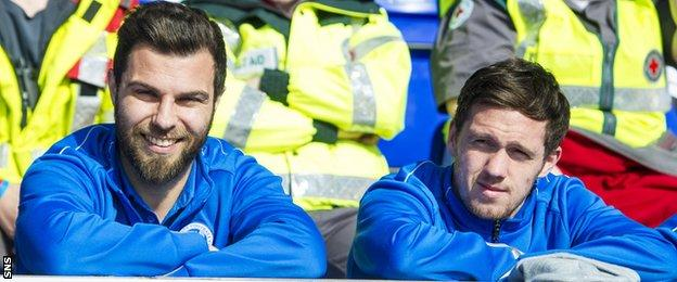 St Johnstone's Richard Foster and Danny Swanson