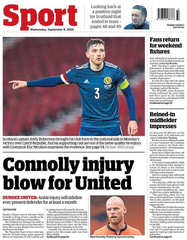 The back page of the Courier on 090920