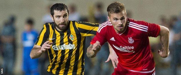 David Goodwillie in action for Aberdeen against Kairat Almaty