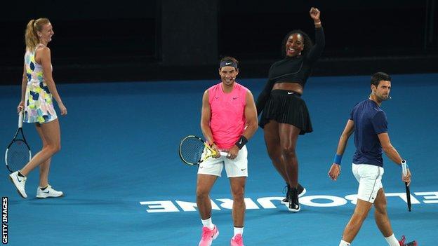 Petra Kvitova, Rafael Nadal, Serena Williams and Novak Djokovic