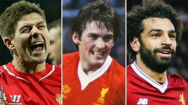 Steven Gerrard, Kenny Dalglish and Mohamed Salah