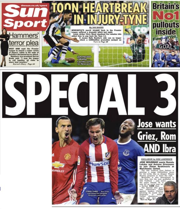 Jose Mourinho hopes to have a stellar front three at his disposal according to the Sun - Griezmann, Ibrahimovic and Lukaku
