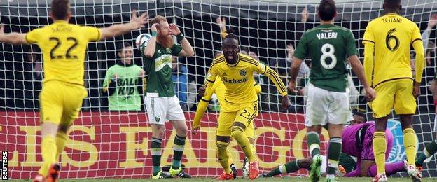 Kei Kamara celebrates scoring for Columbus Crew against Portland Timbers in the MLS Cup final