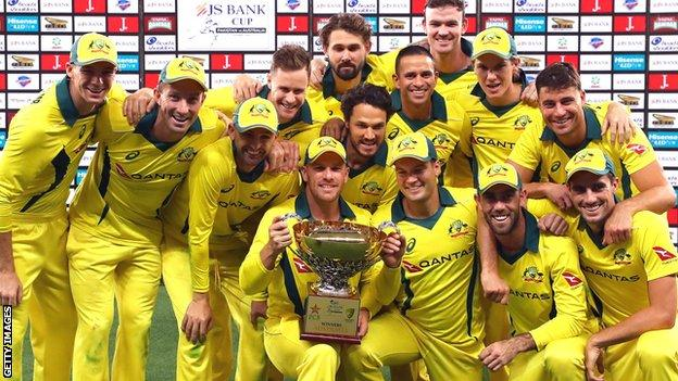 Australia with the ODI series trophy