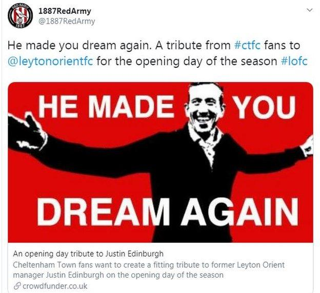 Tweet from Cheltenham fans